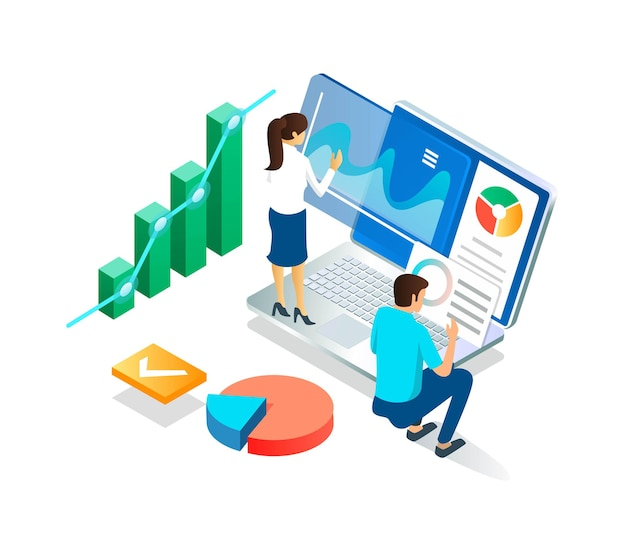 Flat isometric illustration concepts, publish digital reports in real-time and analyze data or files