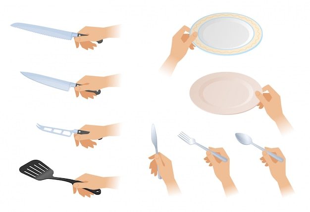 Flat isometric illustration of hands with different cutlery set.