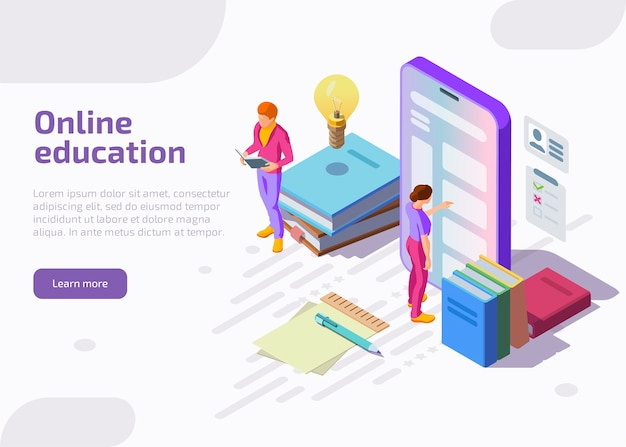 Flat isometric illustration of online education.