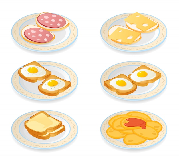 Flat isometric illustration of plates with different morning meal set.