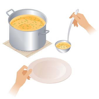 Flat isometric illustration of pot with soup, plate, ladle.