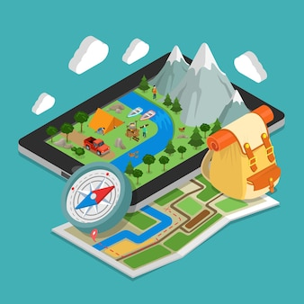 Flat isometric illustration with huge smartphone nature landscape and camping