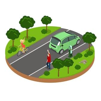 道路上の男性と女性の挨拶とフラットアイソメトリックイラスト