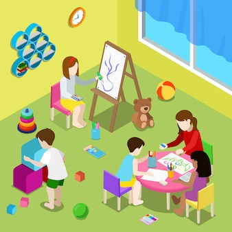 Flat isometric illustration with teacher and children drawing and playing in playschool or day care center