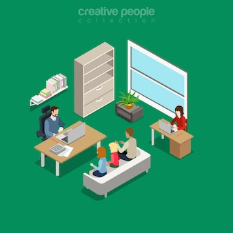 Плоская изометрическая внутриофисная встреча на внутренней иллюстрации офиса босса. изометрия бизнес-концепция.