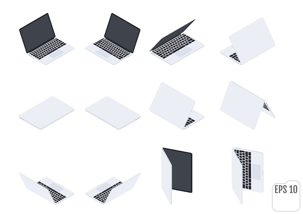 Flat isometric laptops. flat notebooks. computer technology. set of modern laptops.