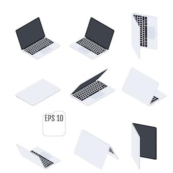 Плоские изометрические ноутбуки. плоские ноутбуки. компьютерные технологии. набор современных ноутбуков. изометрические элементы