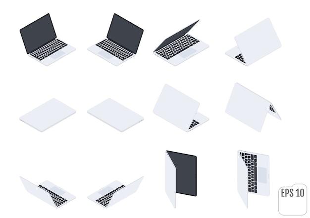 フラットアイソメトリックノートパソコン。フラットノートブック。コンピューターテクノロジー。現代のラップトップのセット。