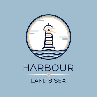 Flat isometric lighthouse icon on blue sea
