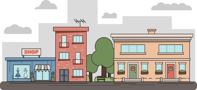 建物、道路、樹木とフラットアイソメトリックラインシティストリートランドスケープビューの概念。