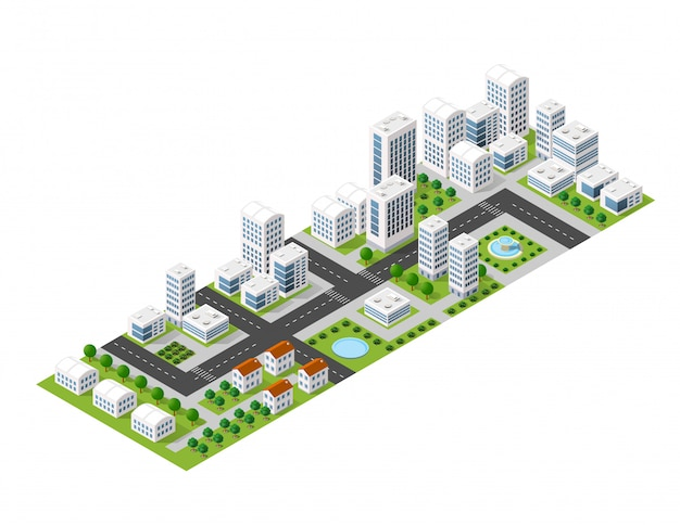 Flat isometric map, landscape city, building skyscraper, picture of the nature