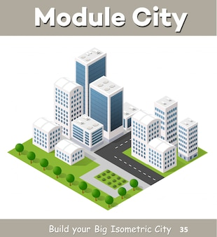 Flat isometric map, landscape city, building skyscraper