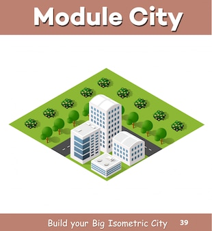 Flat isometric map, landscape city, building skyscraper