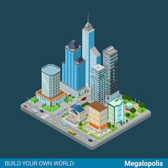 Flat isometric megalopolis business city center building block infographic concept skyscrapers mall municipal office court bank restaurant square park build your own infographics world collection