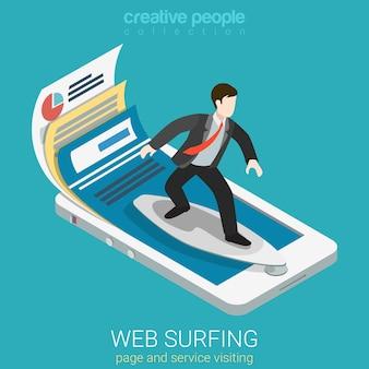 Плоский изометрический мобильный веб-серфер