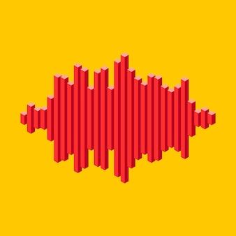 피크 라인으로 만든 플랫 아이소메트릭 음악 웨이브 아이콘