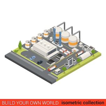 Плоская изометрическая концепция инфографики строительного блока нефтеперерабатывающего завода тяжелая промышленность перерабатывающего завода дымовая труба нефтяной цистерны создайте свою собственную мировую коллекцию инфографики