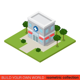 Flat isometric pharmacy drugstore building block infographic concept pills prescription sales point build your own infographics world collection