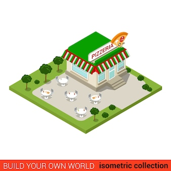 Flat isometric pizzeria pizza restaurant building block infographic concept street italian fast food dinner build your own infographics world collection