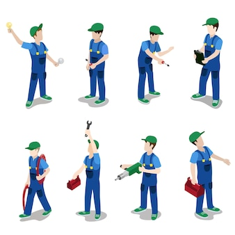 Flat isometric plumber electrician mechanic car repair service worker icon set