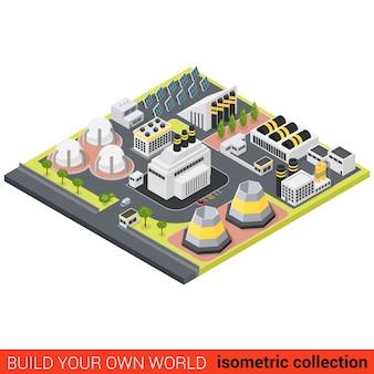 フラットアイソメトリックパワー代替グリーンエネルギー熱プラントビルディングブロックインフォグラフィックコンセプトサンバッテリーモジュール環境にやさしいステーション独自のインフォグラフィックワールドコレクションを構築する