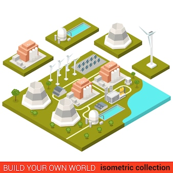 Flat isometric power alternative green energy heat plant building block infographic concept wind turbine sun battery module atom nuclear build your own infographics world collection