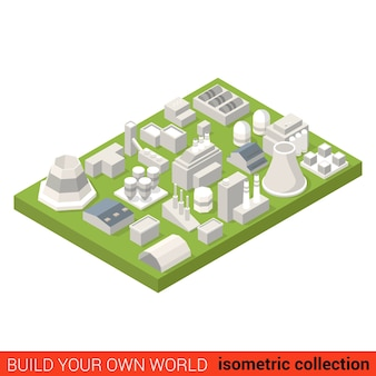 フラットアイソメトリックパワーエネルギーヒートプラントビルディングブロックセットインフォグラフィックコンセプトタービンヒーター格納庫ステーション煙突独自のインフォグラフィックワールドコレクションを構築する