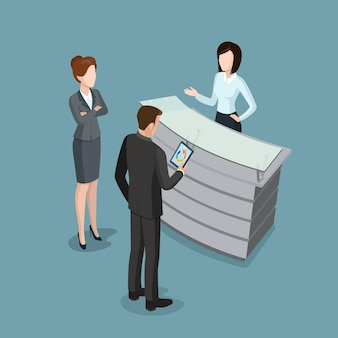 Flat isometric reception interior vector illustration business people at office work businesswoman
