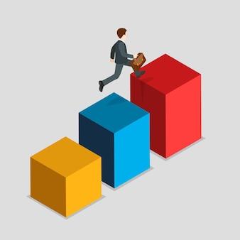 フラットアイソメトリックレポートインジケーターラッシュビジネス統計の概念