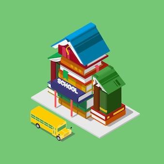 フラットアイソメトリック校舎教育知識学習授業料コンセプトウェブ