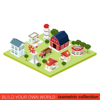 Flat isometric set of countryside infographic farm buildings country side barn warehouse storage shop tractor windmill water pump house build your own infographics world collection