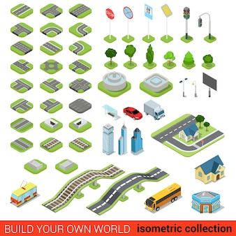 Flat isometric street road sign building blocks infographic concept set crossroad railway fountain traffic light lantern skyscraper tram bus shop build your own infographics world collection