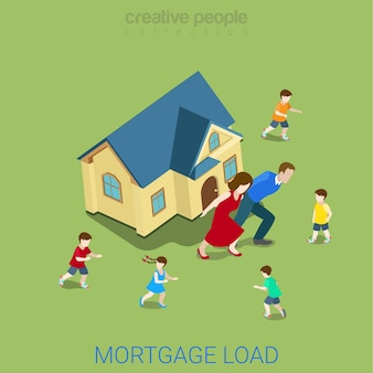 Flat isometric style mortgage load loan burden financial business