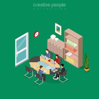 사무실 회의실 인테리어 그림에서 평면 아이소 메트릭 팀 협업. 등거리 변환 비즈니스 개념입니다.