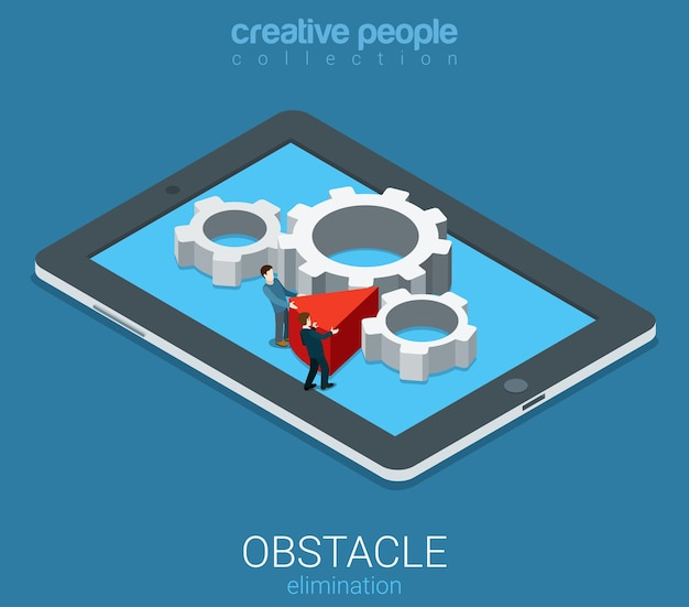 Flat isometric technolofy business obstacle elimination