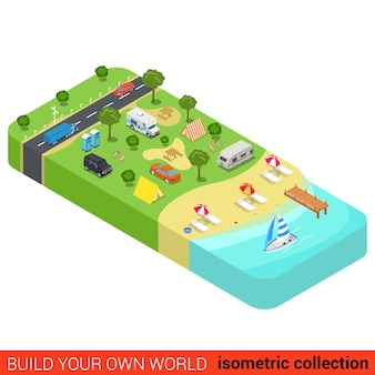 Flat isometric vacation holiday beach camping tourism building block infographic concept yacht marine sea shore sunbathing lounge tent camp motorhome build your own infographics world collection