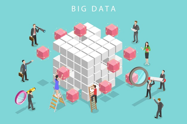 Flat isometric vector concept of big data analysis, database research, advanced analytics.