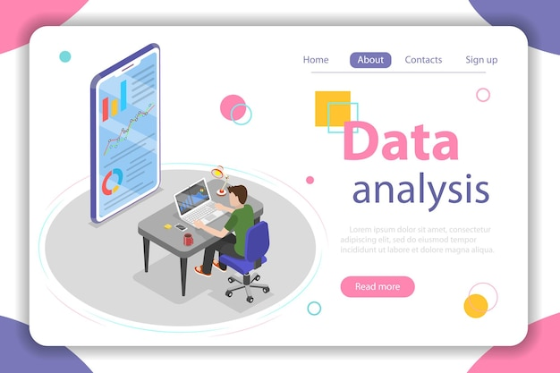 Flat isometric vector concept of business statistics and analytics