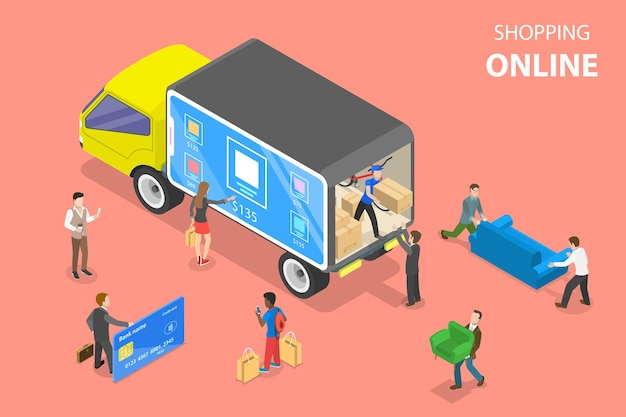 Flat isometric vector concept of easy shopping ecommerce online store