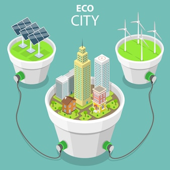 Flat isometric vector concept of eco city solar panels