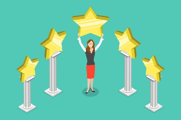 Flat isometric vector concept of five stars best rating customer feedback
