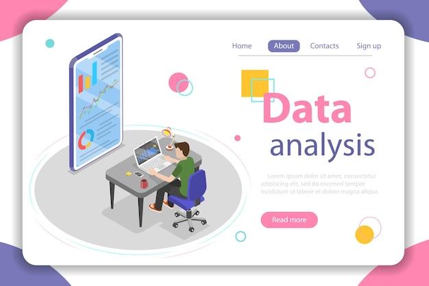 Плоская изометрическая векторная концепция бизнес-статистики и аналитики