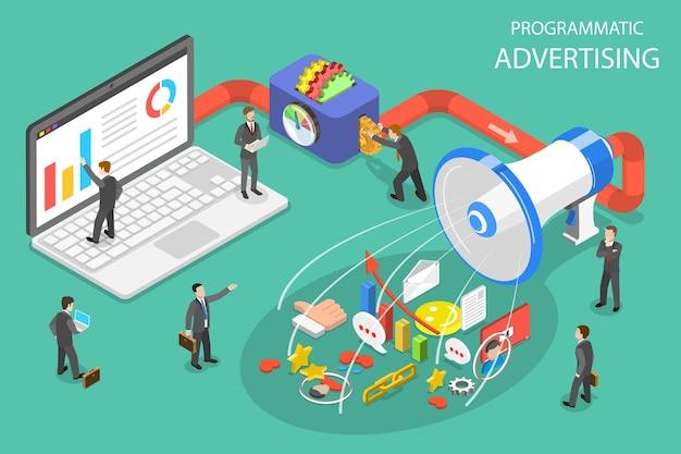 프로그래밍 방식 광고, 소셜 미디어 캠페인의 평면 아이소메트릭 벡터 개념.