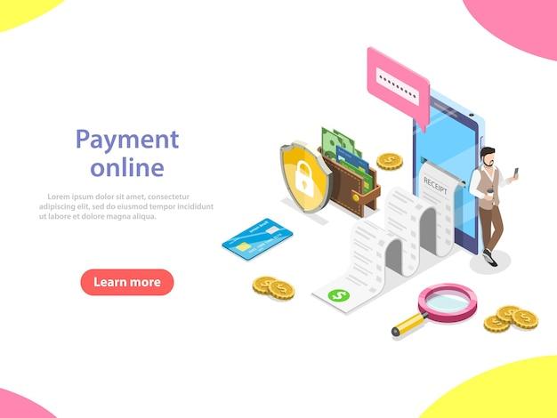 Плоские изометрические вектор концепции получения, онлайн-оплаты, денежных переводов, мобильного кошелька. Premium векторы