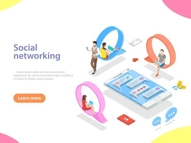 소셜 미디어 네트워크, 디지털 통신, 채팅의 평면 아이소메트릭 벡터 개념.