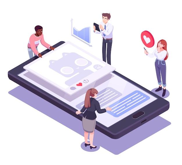 소셜 미디어 네트워크, 디지털 통신, 채팅의 평면 아이소메트릭 벡터 개념