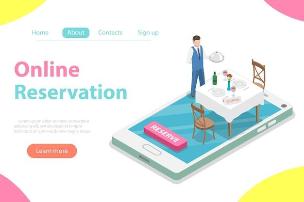 테이블 온라인 예약, 모바일 예약의 평면 아이소메트릭 벡터 개념.