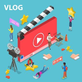 비디오 블로그, vlog, 온라인 채널의 평면 아이소메트릭 벡터 개념, 비디오 콘텐츠 생성.