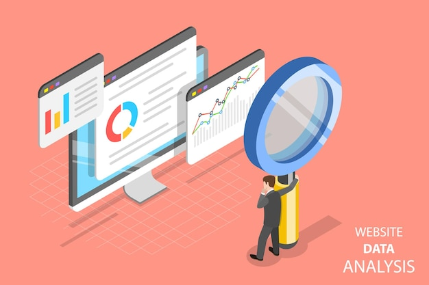 Плоская изометрическая векторная концепция анализа данных веб-сайта