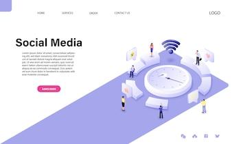 フラットアイソメトリックベクトル設計。ソーシャルメディアのコンセプト